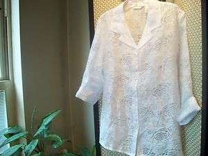 FRENCH LAUNDRY SZ L Ladies Lacy Pretty White BLOUSE NWOT