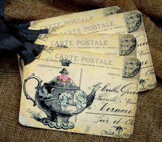 Hang Tags VINTAGE FRENCH PARIS TEAPOT POSTCARDS Gift Tags