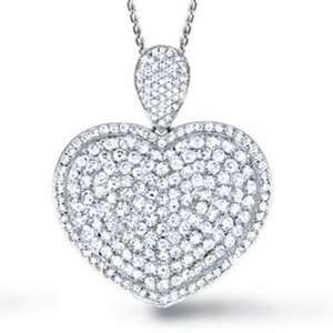 Diamond 14k White Gold Pave Heart Pendant/Necklace w/ Chain Jewelry