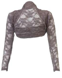 NEW WOMENS LADIES LONG SLEEVE TOP FLORAL LACE SHRUG CROP CARDIGAN