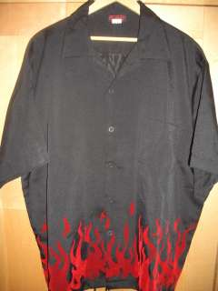 Sinister Clothing Retro Rockabilly Red Flames Mens Black Shirt XXL
