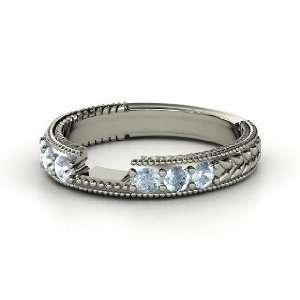 Emerald Isle Matching Band, 14K White Gold Ring with Aquamarine
