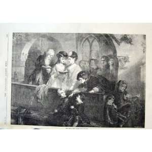 Family Pew By Hughes Antique Print 1870 Church Scene