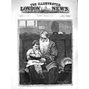 1883 ON DUTY OLD MAN CHURCH PEW LITTLE BOY BIBLE ART