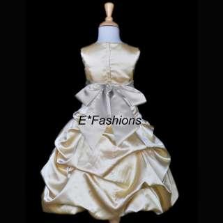 BRIDAL FLOWER GIRL DRESS GOLD SILVER 4 6 8 10 12 14 16
