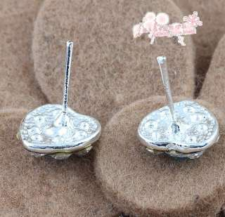 Lot 6 Pairs Fresh Silver Plated Pretty Full Crystal Rhinestone Earring