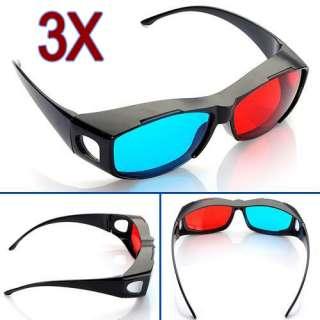 3x Anaglyph 3D Rot Blau Brille Brillen Glasses für Film