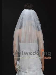2T 32 White/Ivory Tulle Pearl Fingertip Wedding Bridal Veil