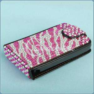 Pink Zebra Leather Bling Flip Case Cover for Nokia C3