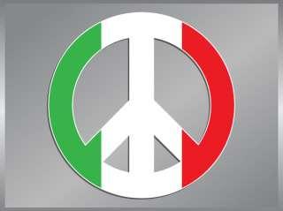 Italian Flag Peace Sign vinyl decal Italy Sticker
