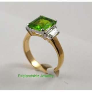 August Birthstone Ring Gold Layered Peridot CZ Size 12