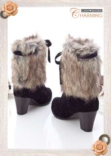 Womens Tie Faux Fur Heels Mid Boots Black