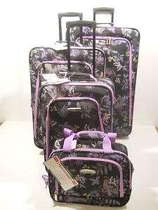 Rockland 4pc Garden Travel Luggage Set Expandable Upright Wheeled