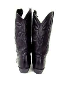 vintage womens black COWBOY WESTERN BOOTS embroidered leather sz 10 M