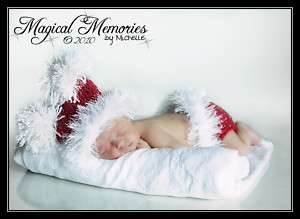 XMAS~ CROCHET BABY NEWBORN DIAPER COVER / SACK HAT