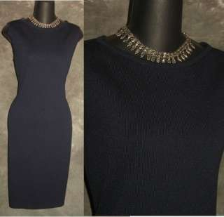 St John Collection by Marie Gray navy blue knit dress sz 4 6