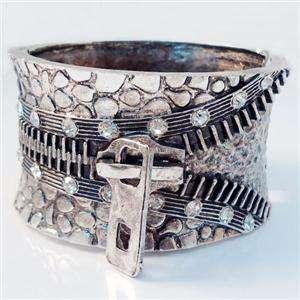 VTG Style Zipper Bracelet Bangle Cuff Swarovski Crystal