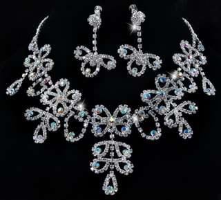 Full Show AB Rhinestone Clear Bridal Prom Necklace 1Set