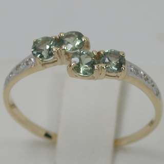 03 CTS 14K SOLID YELLOW GOLD NATURAL GREEN SAPPHIRE CLUSTER BAND