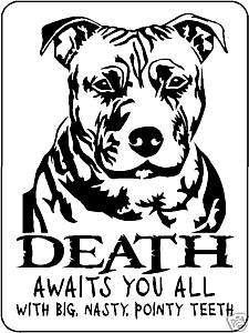 PIT BULL GUARD DOG Aluminum Sign Vinyl Decal 3366