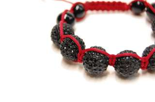 Stone Red CZ Macrame Disco Ball Beads Bracelet Jay Z Lil Wayne