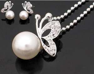 4061 New Fashion Jewelry Butterfly Pearl Earring Necklace Set