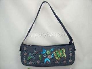 Elegant Blue Denim/Jean Beaded Butterfly Handbag Purse DF 0865