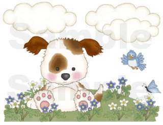 PUPPY PUPPIES DOG BEE BUTTERFLY LADYBUG BABY NURSERY WALL BORDER