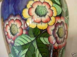 Gaudy Moorcroft H & K Tunstall Gaiety England Pottery Vase Lamp