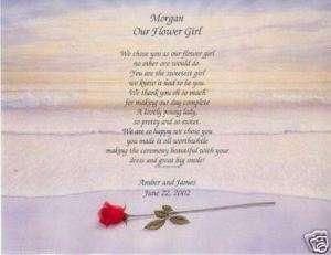 WEDDING Flower Girl POEM Personalized Name Print Prayer