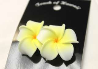 Hawaii Bridal Wedding Party Flower Hair Clip White & Yellow Plumeria