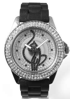 BABY PHAT Ladies Watch Black Rubber Strap MISSING CRYSTAL