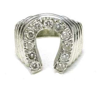 Vintage 10k White Gold & 1/2 ct Diamond Horseshoe ring