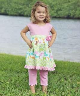AnnLoren Girls Pink Puppy Print Baby Doll Shirt & Capri Outfit size 2