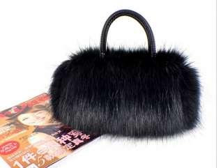 Womens Girls Cute Faux Rabbit Fur Handbag Tote Bag Satchel Shoulder