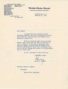 Harry Truman SIGNED TLS Letter 1939 U.S. Senate