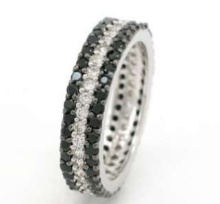 BLACK/WHITE CZ STERLING SILVER 3ROW ETERNITY BAND RING