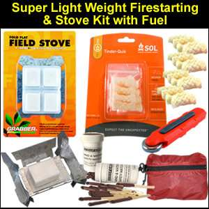 Super Light Weight Survival Fire Starting and Stove Kit