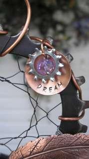 Steampunk Dreamcatcher Glass Metal Industrial Art Copper Gear Leaf