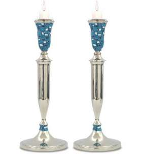 Jewish Judaica NICKEL Shabbat CANDLESTICKS BLUE FIMO DECORATION Israel