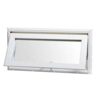 Vinyl Awning Window, 32 in. x 16 in., White, Top Hinge, with Insulated