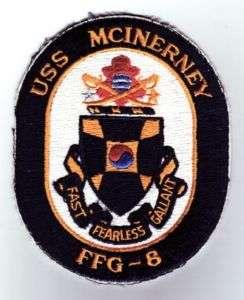 USS MCINERNEY, FFG 8   U.S. NAVY SHIP PATCH