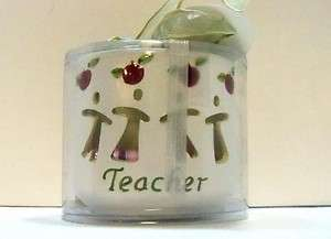 TEACHER GIFT & Poem Christmas Votive Holder & candles Apples NEW in