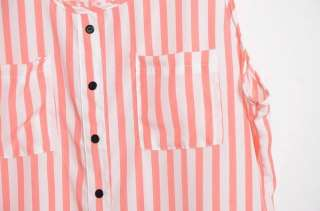 Sexy Womens Chiffon Shirt Stripes TANK TOP Cami Chiffon Sleeveless
