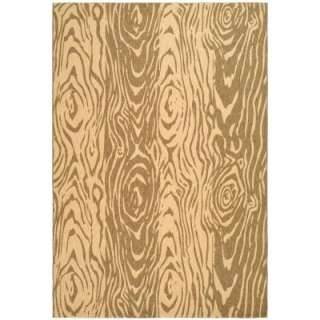 Layered Faux Bois Coffee/Sand 6 ft. 7 in. x 9 ft. 6 in. Indoor/Outdoor