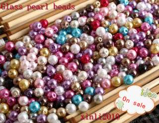 4Sizes 8mm 6mm 4mm 3mm Mixed Round Faux Glass Pearl charms Spacer