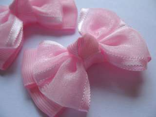 20 Grosgrain Organza Ribbon Bow Hair Pink R073