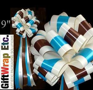 PULL BOWS IVORY BROWN TURQUOISE CHURCH CHAIR PARTY WEDDING DECORATIONS