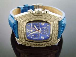 Men Aqua Master Blue Face 20 Diamonds Watch