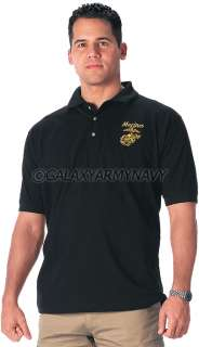 USMC Black Embroidered Marine Corps Logo Military Polo Shirt